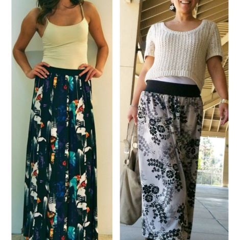 (Left) Printed Maxi Skirt from Saffron Rare Threads; (Right) Sewingoutloud.wordpress.com